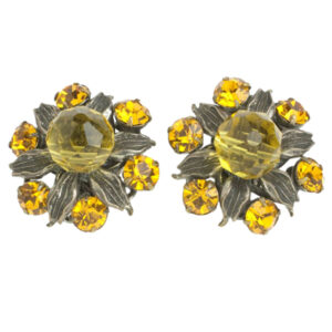 Miriam Haskell citrine & silver earrings