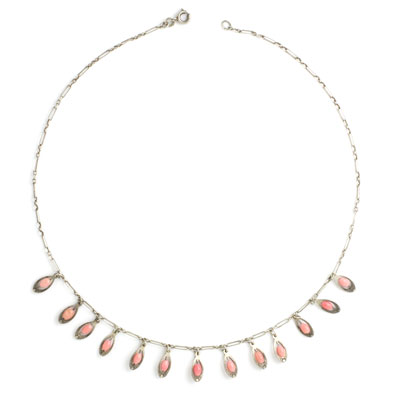 Art Deco coral bead fringe necklace