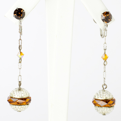 1920s drop earrings with golden-topaz accents in silver-tone