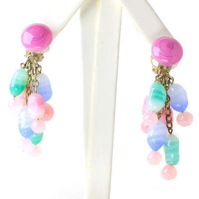 Art glass earrings in pastels, from France