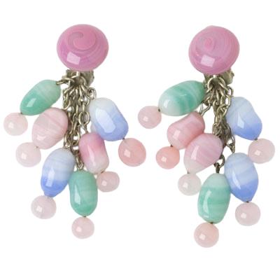 Pale pink, green & blue glass bead earrings