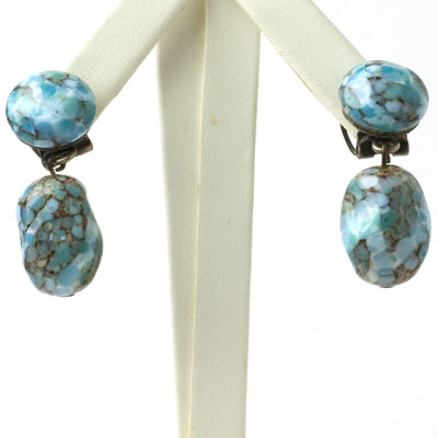 Vintage turquoise glass earrings with pendants