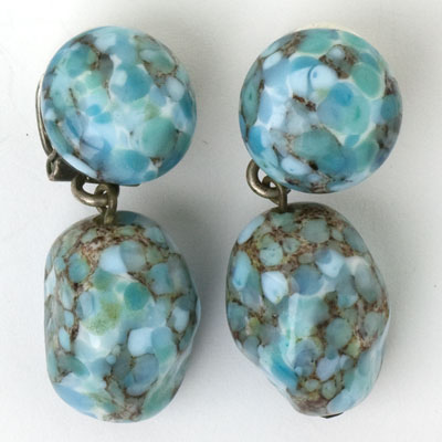 Turquoise drop ear clips, probably by Louis Rousselet