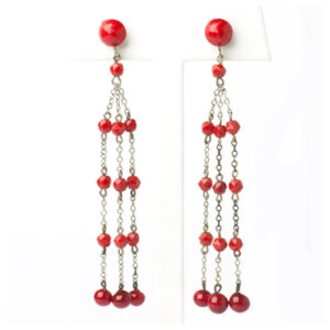Red bead earrings from the 1920s