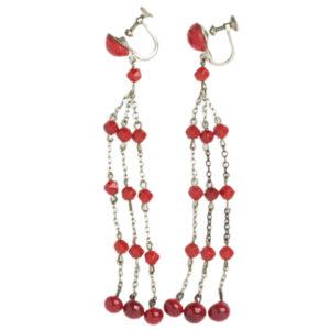 Art Deco red chandelier earrings
