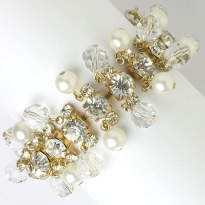 Crystal bead bracelet with pearls & diamante