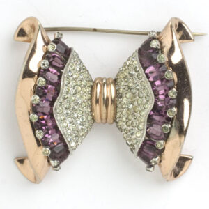 Vintage rose gold brooch w/amethysts & diamanté