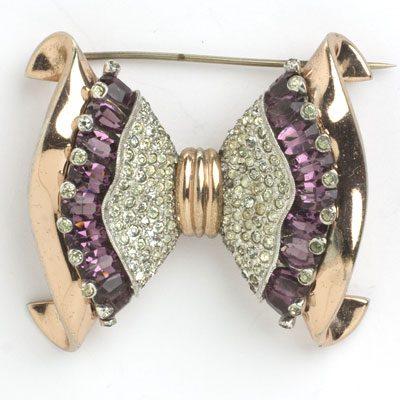 Vintage rose gold brooch w/amethysts & diamanté