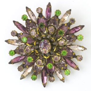 Alice Caviness brooch with amethyst & peridot flower petals