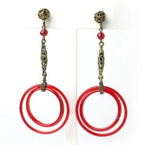 Czech earrings with red-glass double hoops