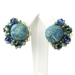 Vintage turquoise glass earrings w/sapphire accents