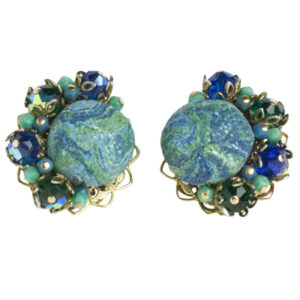 Turquoise & sapphire ear clips by Alice Caviness