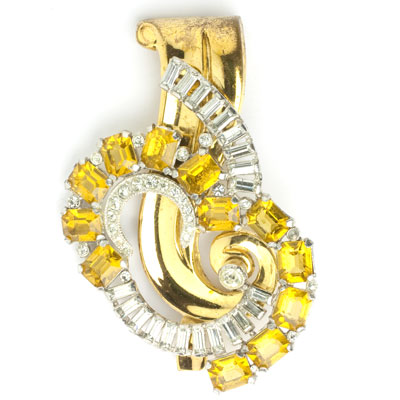 McClelland Barclay vintage brooch with citrines & diamante
