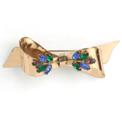 Ribbon bow brooch with gemstone bouquets