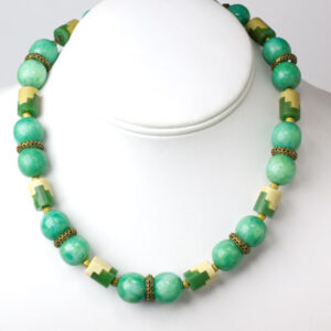 French Art Deco necklace in jade & ivory Galalith by Louis Rousselet
