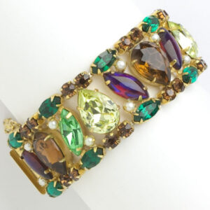 Hattie Carnegie bracelet in rich colors with faux pearls
