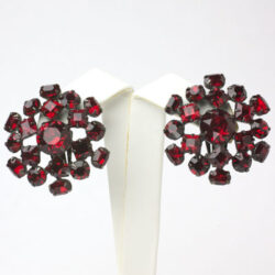 1950s earrings by Schreiner, with ruby glass stones