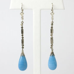 Vintage drop earrings with blue glass and diamanté