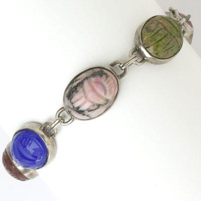 Vintage scarab bracelet in sterling silver by W.E. Richards