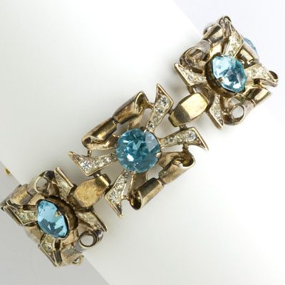Coro bracelet with aquamarine & diamante set in gold-plated sterling