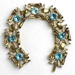1940s Coro bracelet with aquamarine & diamante in gold