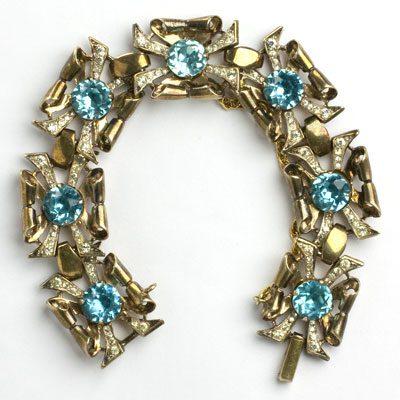 1940s Coro bracelet with aquamarine & diamante in gold