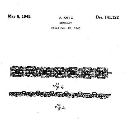 Design patent for aquamarine & diamante bracelet