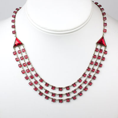 Vintage multi strand necklace with ruby chicklets