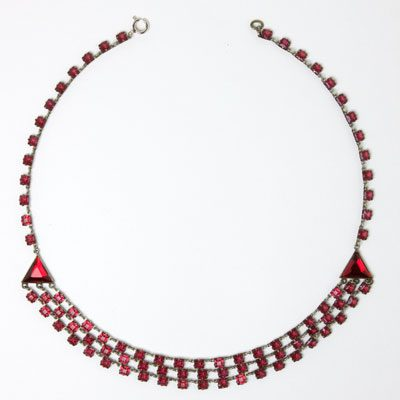 Front of 3-strand ruby chicklet necklace