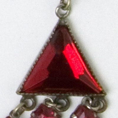 Close-up view of a triangular stone