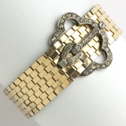 Vintage gold bracelet with diamante buckle