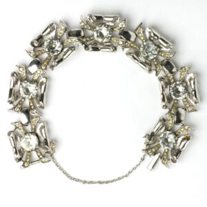 Sterling silver & diamante 1940s bracelet