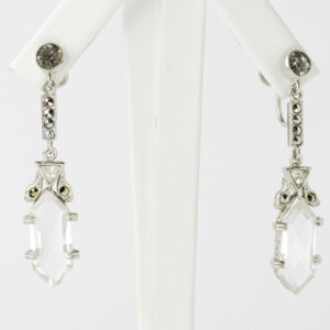 Dangling hexagon earrings with crystals & marcasites