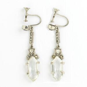 Crystal & marcasite pendant earrings