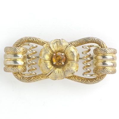 Vintage German brooch in gold-washed sterling w/citrine