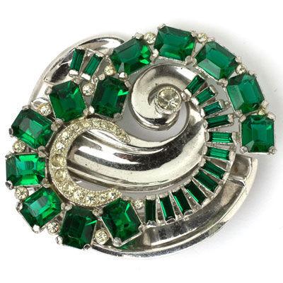 Emerald & diamante 1940s McClelland Barclay brooch