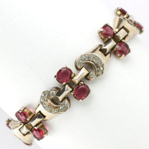 Trifari bracelet with ruby & diamanté in gold-plated sterling