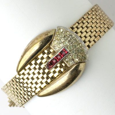 1940s buckle bracelet by Kreisler in gold with rubies and diamanté