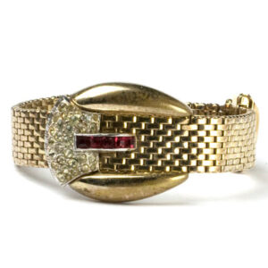 940s buckle bracelet by Kreisler with basket-weave pattern