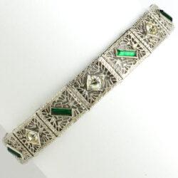 Vintage silver filigree bracelet with emerald & diamante