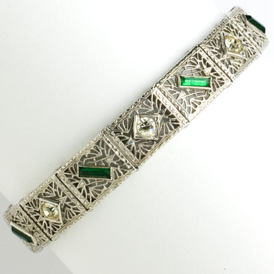 Vintage silver filigree bracelet with emerald & diamante
