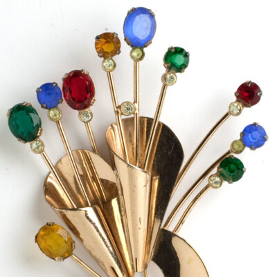 Close-up of Coro bouquet brooch