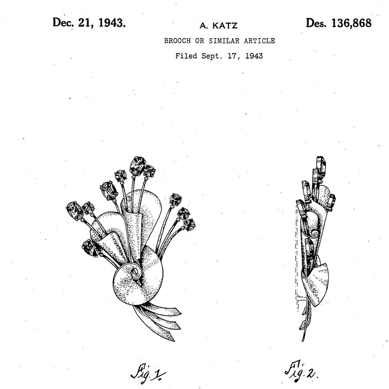 Design patent for Adolph Katz brooch