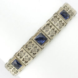 1920s bracelet with faux sapphire in sterling filigree by Granbery