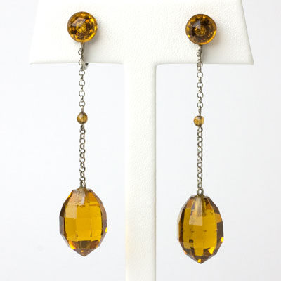 1920s earrings with citrine briolette pendants