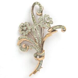Reja brooch in rose-vermeil-sterling with diamante