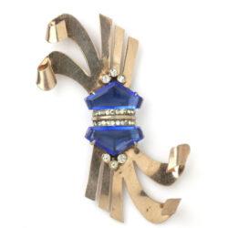 Rose vermeil sterling brooch w/sapphires & diamante