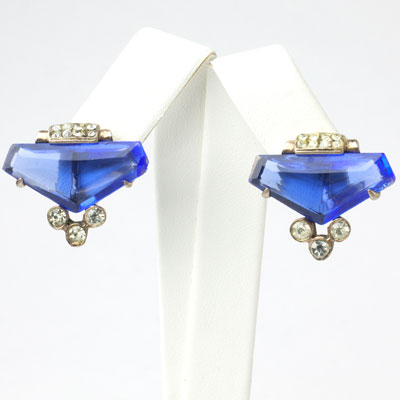 Sapphire & diamante matching earrings