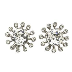 Diamanté & Sterling Sunburst 1940s Earrings by Eisenberg