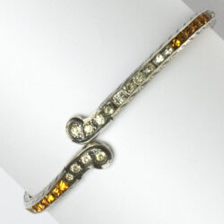 Diamante & citrine bangle bracelet in sterling